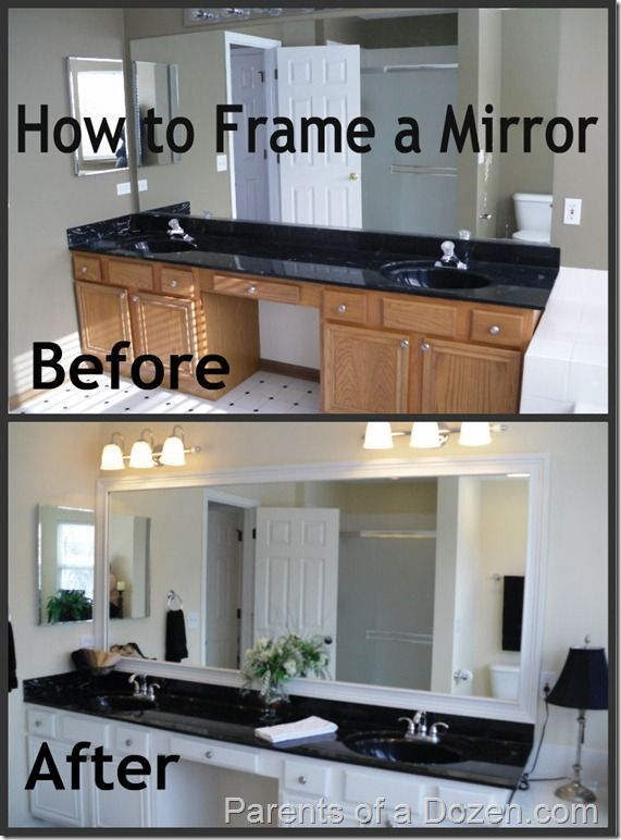 How to Frame a Mirror - uses double stick tape??? Not the method I would pick, but the square corners seem like a good idea and lots of before and after pictures