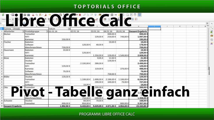 Pivot-Tabelle ganz einfach erstellen (Libre Office Calc) Pivottabelle / ...