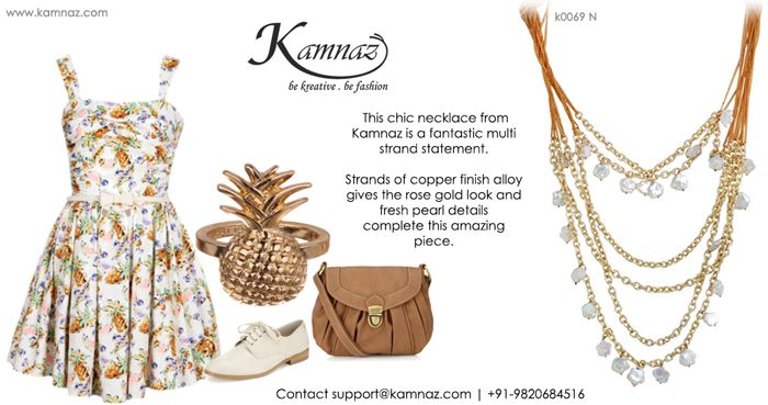 #KamnazJewellery This #chic #necklace from Kamnaz is a fantastic multi strand statement. Strands of copper finish alloy gives the rose gold look and #freshpearl details complete this amazing piece. Contact support@kamnaz.com   +91-9820684516 All Rights Reserved by http://kamnaz.com/ #handmadejewellery #jewelry #jewellery #jewellerylovers #jewellerytrends #designerjewellery
