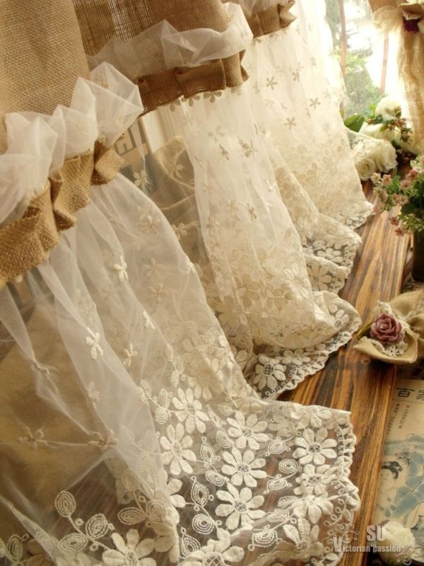 """72"""" SHABBY Rustic Chic Burlap SHOWER Curtain Lace Ruffles FLOWER French Country"""