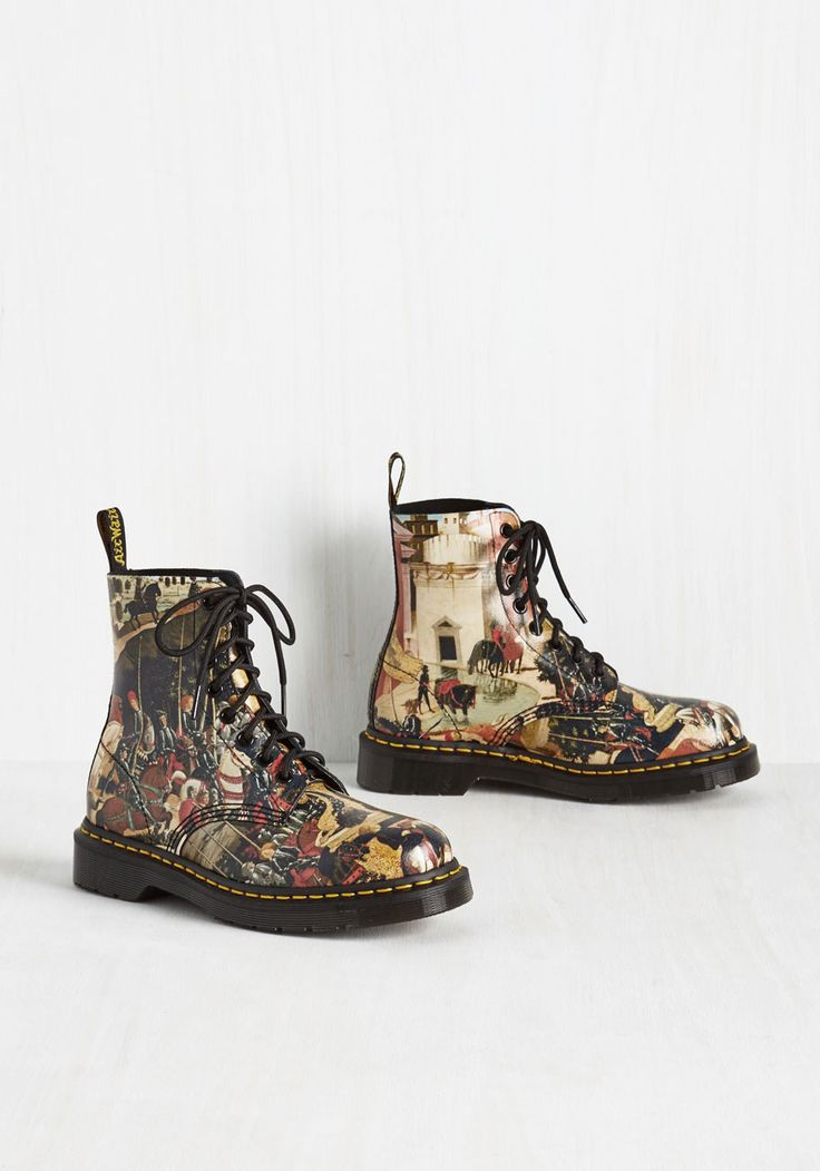 Triumph As I May Boot by Dr. Martens - Black, Multi, Print, Other Print, Casual, Statement, Best, Lace Up, Ankle, Novelty Print, Vintage Inspired, 90s