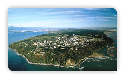 UBC is on a Peninsula and it´s so big it even has a nudist beach =D