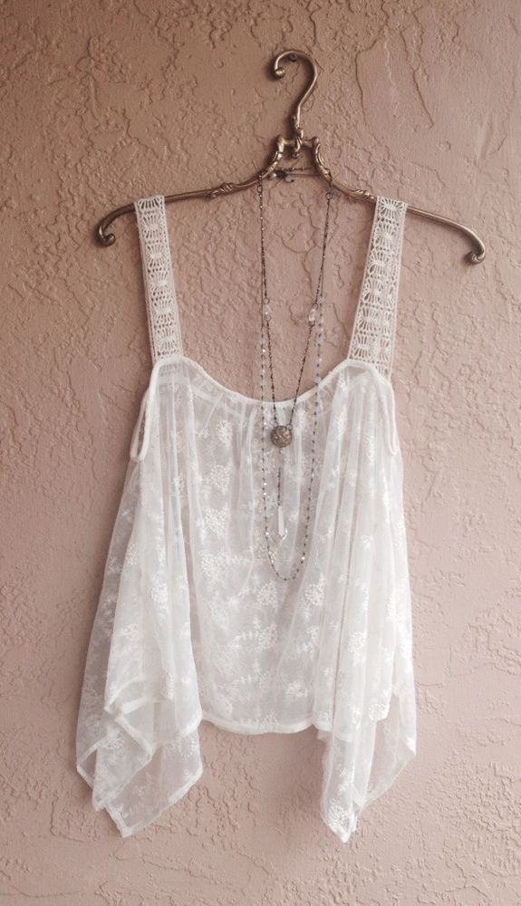 one size bohemian gypsy camisole with sheer lace and wide crochet straps