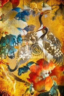Fotobehang Crane illustratie op gouden achtergrond