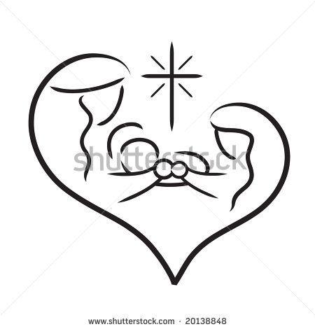 Vector line art image of Holy Family / Nativity