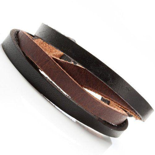 R&B Schmuck Herren Armband Leder - Kombi-Schick, Vintage Style (Schwarz, Braun): 14,90€