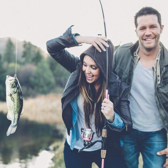 An outdoors engagement session involving fishing, smores, a campfire, and lots of gorgeous scenery!