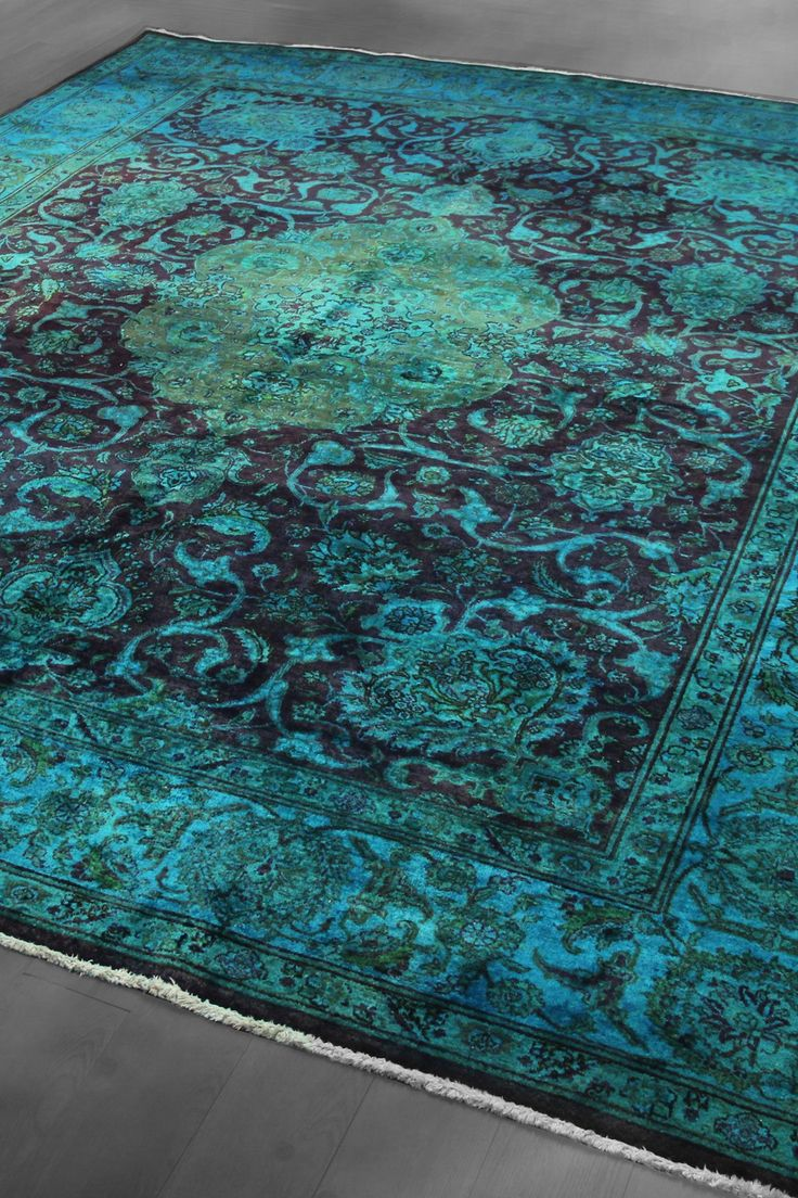 Vintage Over-Dyed Persian Tabriz Medallion Wool Rug - Deep Wine/Teal - 9ft. 9in. x 12ft. 2in. on HauteLook