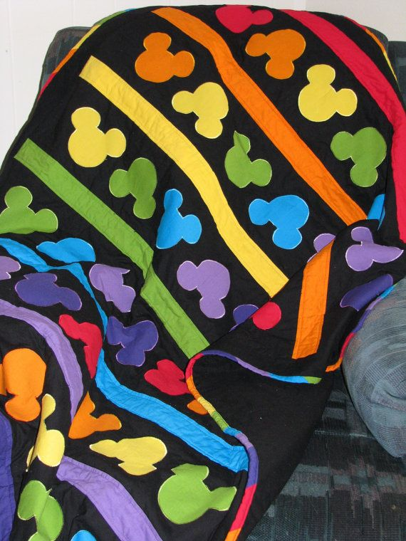 Mickey Mouse Rainbow Quilt Ready to Ship 55 x 46 by SewLetsBegin