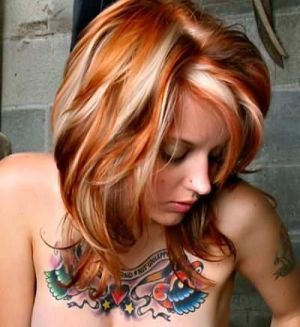 Copper hair with blonde chunks<3 I could go gray and red....... i wonder if it would be easier keep up
