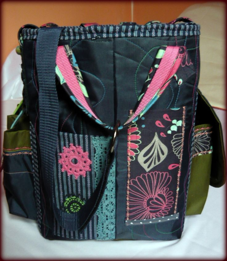 Handmade by Judy Majoros - Multicolour chrochet scrapbooking tote-bag. Recycled bag. Materials:chrochet-cordura-rubber strap-velcro-lace...