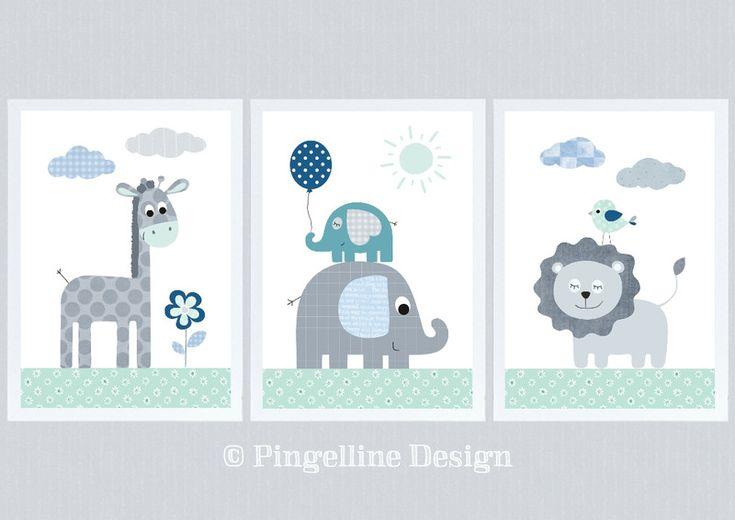 Wandgestaltung – Kinder Poster DSCHUNGELTIERE SET 3 mint grau A4 – ein Designerstück von Pingelline-Design bei DaWanda