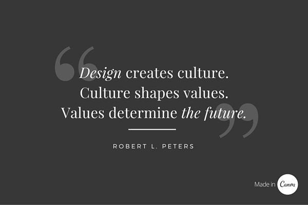 Robert L. Peters is a designer actively involved in design education. This quote puts the notion into context that design inadvertently shapes the future.