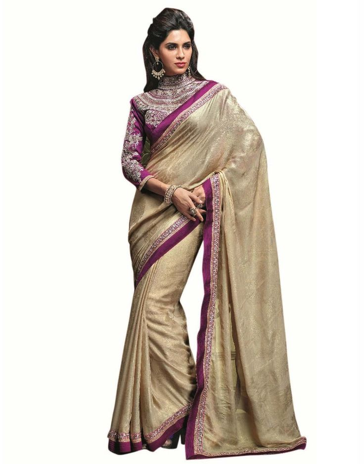 Cream Georgette with Zari Resham Embroidery and  Lace Border worked Saree