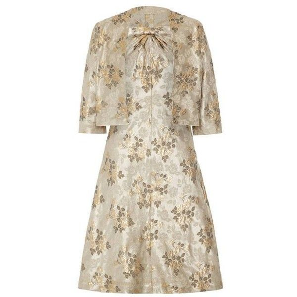 Preowned 1960s French Couture Floral Brocade Dress Suit ($570) ❤ liked on Polyvore featuring dresses, beige, suits, holiday party dresses, floral party dress, couture dresses, night out dresses and long-sleeve floral dresses