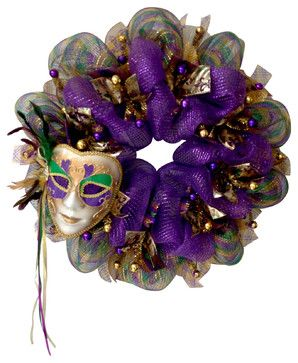 Mardi Gras Feather Venetian Mask Deco Mesh Wreath - Contemporary - Wreaths And Garlands - by What A Mesh By Diana