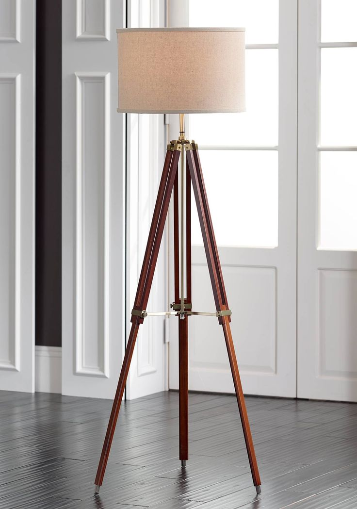Possini Euro Cherry Finish Wood Surveyor Tripod Floor Lamp - #W1650 | Lamps Plus