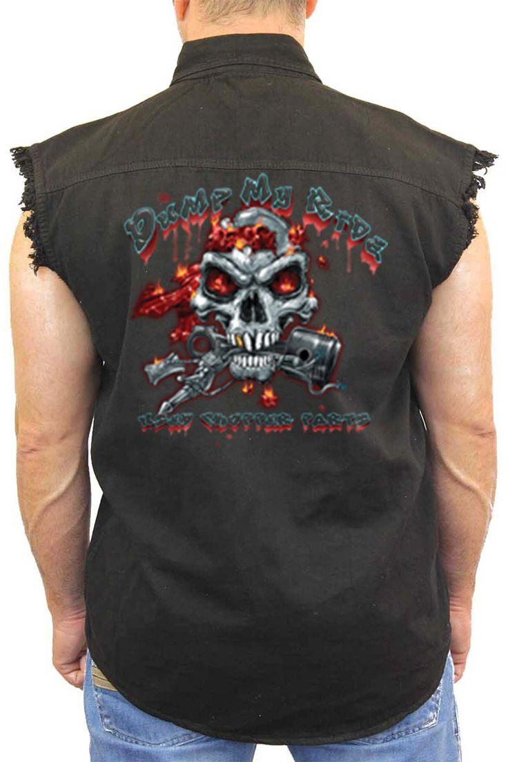 Men's Sleeveless Denim Shirt Dump My Ride Used Chopper Parts - SHORETRENDZ