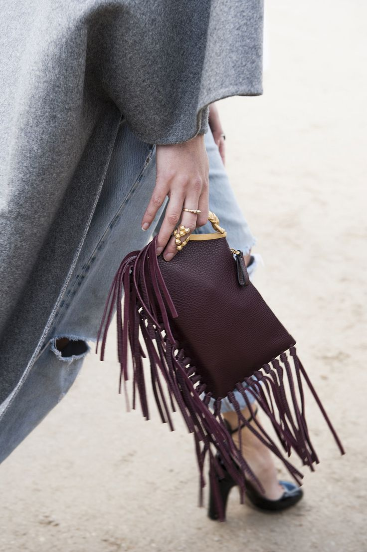 A cool fringed clutch - Paris Fashion Week #StreetStyle Accessories Fall 2014 Gryphon Finger-Fringe Clutch Bag, Dark Red - Valentino