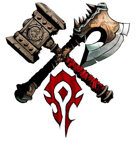 a foice e o martelo. Pela Horda!  vitória ou morte. Gorehowl & Doomhammer
