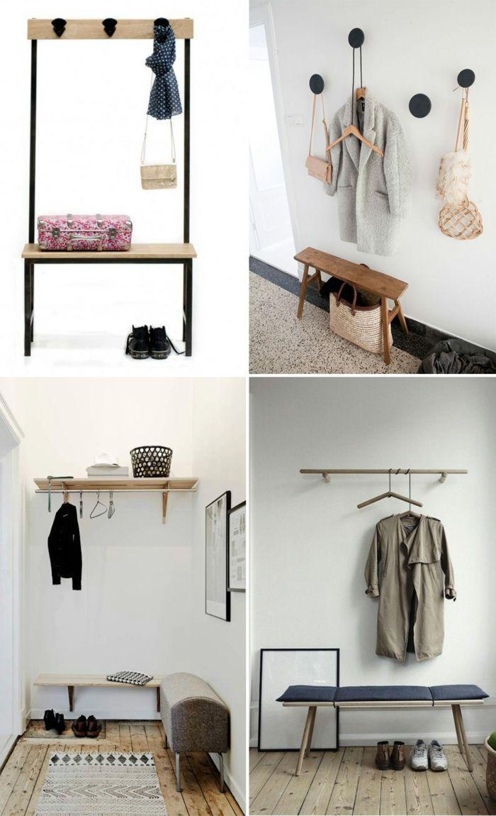 muebles de entrada, cuatro ideas de decoración minimalista de recibidores pequeños con banco y ganchos de pared