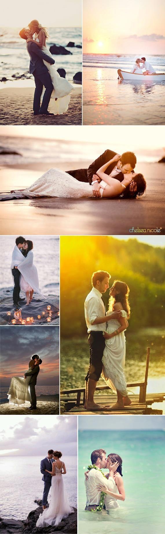 Romantic beach wedding photo ideas
