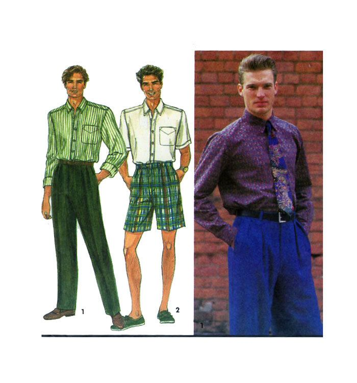 Mens Dress Pants / Trousers/ Shorts & Dress Shirt Simplicity 8571 Pleated Front Short or Long Sleeve Shirt Size 38-44 Chest UNCUT by FindCraftyPatterns on Etsy