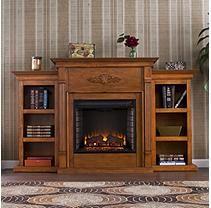 Emerson W Bookcases Fireplace-Glaze Pine