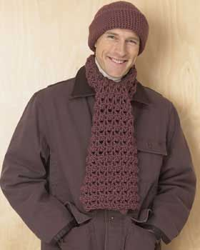 Hat and Scarf Set for Men Free Pattern