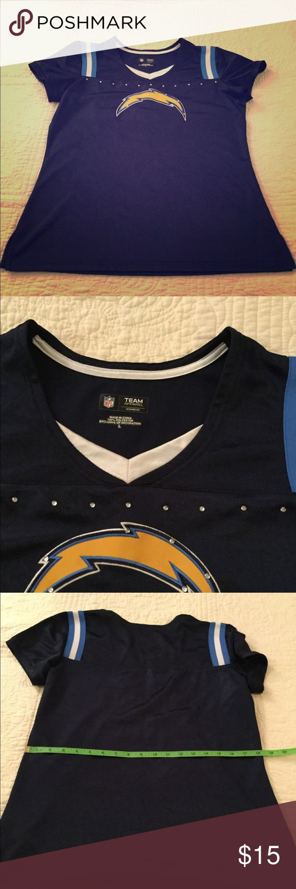 NFL Los Angeles Chargers 'Jersey' (L) Just in time for FOOTBALL!!🏈 NFL Team Apparel Los Angeles Chargers 'Jersey' What's nice about this top: there is not a players name on the back which will not date this top:) This top is pre loved as I am a Chargers fan... now you can have this gem! nfl team apparel Tops