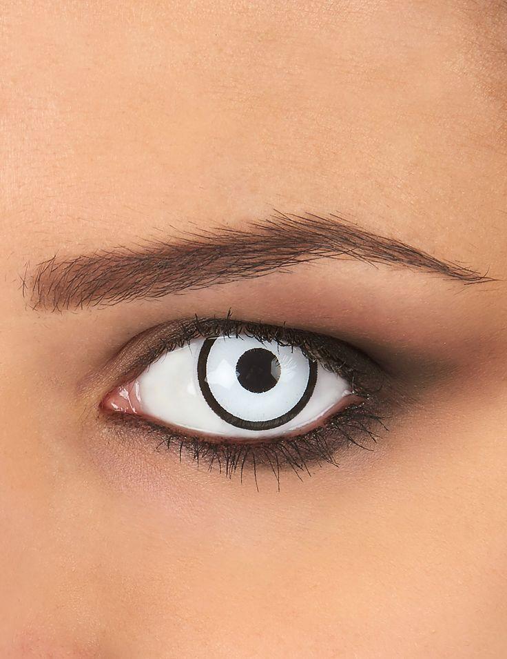 Estas lentes de contacto de fantasía de color blanco y negro son perfectas para completar tu disfraz de Haloween