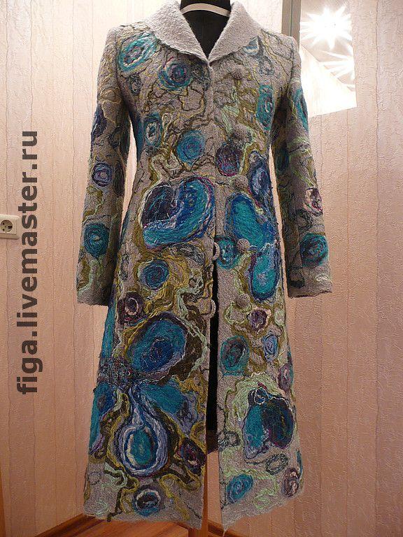 """Купить Пальто """"Серо-синие"""" - 50% шерсть, фасонная пряжа, люрекс"""