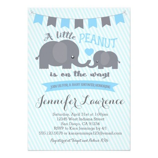 Blue Boy Peanut Elephant Baby Shower invitation 30% off
