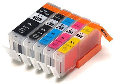 Set of 5 Canon PGI-250XL Pigment Black & CLI-251XL Black Cyan Magenta Yellow High Yield Compatible Ink Cartridges