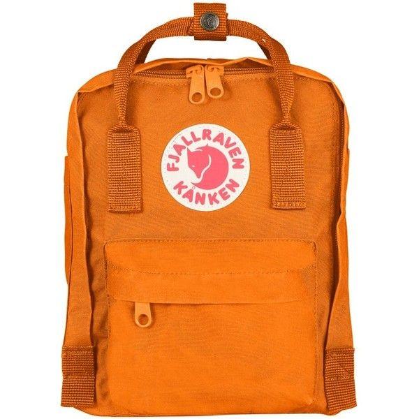 Women's Fjallraven 'Mini Kanken' Water Resistant Backpack (£50) ❤ liked on Polyvore featuring bags, backpacks, burnt orange, long bags, miniature backpack, daypack bag, water resistant bag and orange backpack