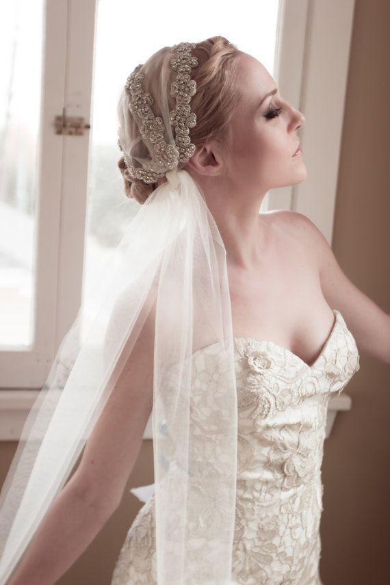 Juliet Cap Wedding Veil Unique Rhinestone Covered by veiledbeauty