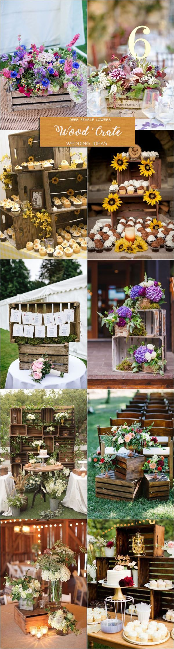 Rustic country wedding ideas - wooden crate wedding centerpieces & decor / http://www.deerpearlflowers.com/rustic-wedding-themes-ideas/2/