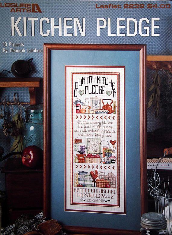 Kitchen Pledge By Deborah Lambein Vintage Cross Stitch Pattern