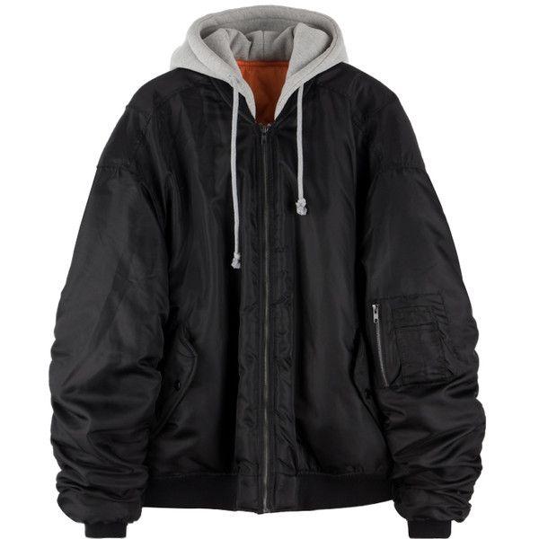 Hooded Oversized Bomber Jacket ($33) ❤ liked on Polyvore featuring outerwear, jackets, tops, bomber jackets, flight jacket, blouson jacket, sandstone hooded multi-pocket jacket, hooded jacket and zip up jackets