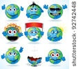 stock vector : Set of Funny Cartoon Planet Earth with Various Emotions