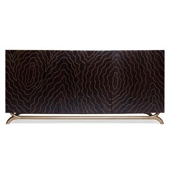 Brass Inlay Hollywood Regency Faux Bois Contemporary Media Cabinet #KathyKuoHome #HollywoodRegencyDreamRoom