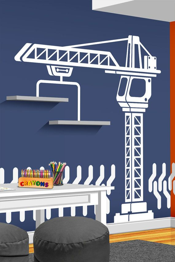Construction Crane Vinyl Wall Decal - Bedroom, Playroom or Nursery Decal - Construction Decor - Truck Wall Decal