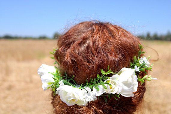 white flower crown rustic flower crown ivory floral crown