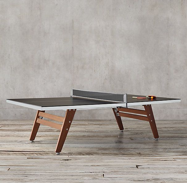Black Steel & Wood Table Tennis