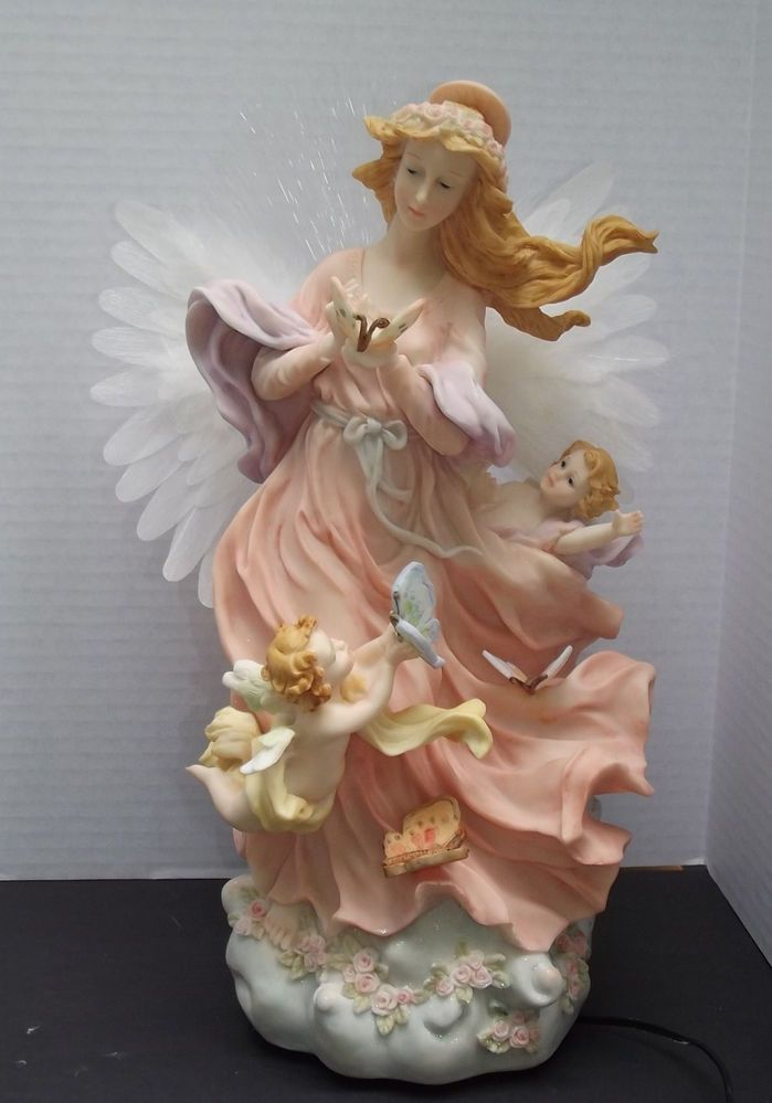 15 Inch Fiber Optic And Feather Winged Angel Figurine