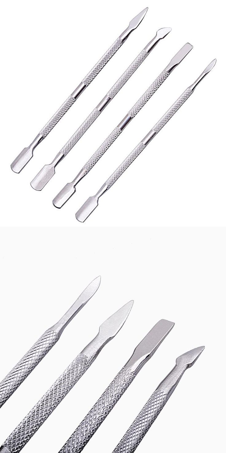 [Visit to Buy] 4Pcs Stainless Steel Nail Art Cuticle Spoon Pusher Remover Manicure Pedicure Tool Set Peeling push Double dead skin down fork #Advertisement