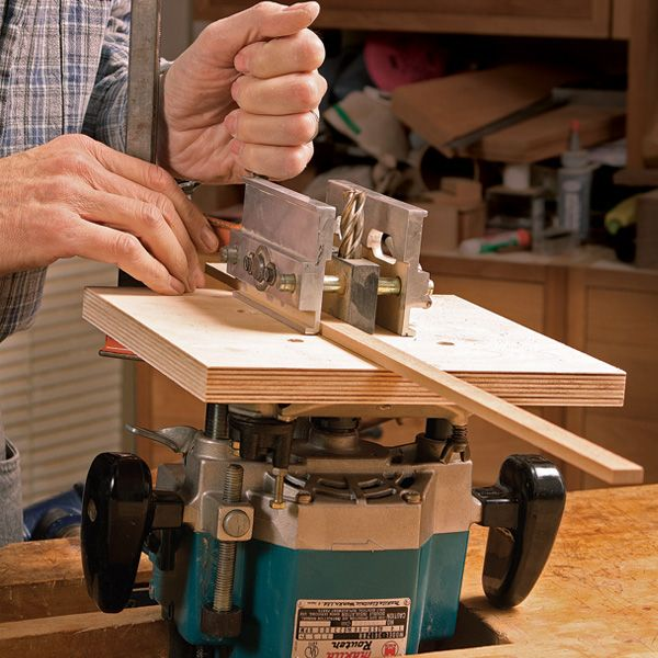 Learn how to build a custom router base for simple, centered mortises.   This simple base, used with a plunge router, makes it easy to center a mortise on a leg or post. The base has...