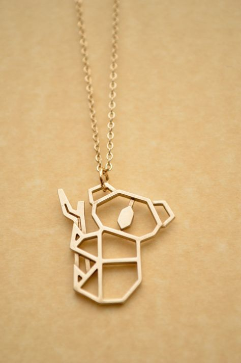 Koala Origami Necklace Geometric Animal Pendant Polished Brass