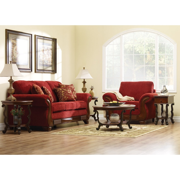 Intricately carved wood trim frames a bold red chenille body while  coordinating accent pillows add style. 56 best In Stock Furniture images on Pinterest   Home furniture