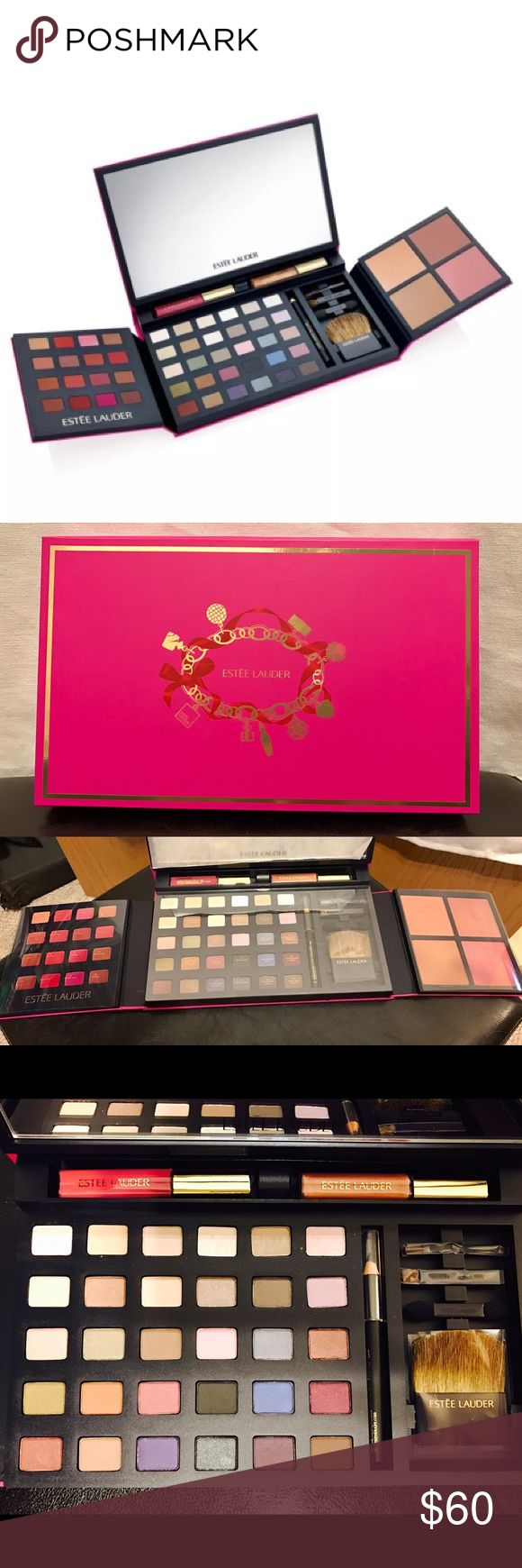 New💄Estee Lauder Makeup Kit Great Makeup Kit! Fold up Design with large mirror! Comes with •2 Lip Glosses •Black Eyeliner •30 Eyeshadows •16 Lip Colors •3 Blushes •1 Bronzer •4 Brush/Applicators. Brand New never used! (some wear on the outside but not very noticeable and doesn't effect product)😍Make an Offer! Estee Lauder Makeup